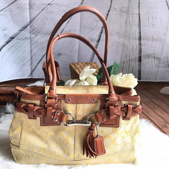 288ba8efa2 ... czech coach hampton signature yellow bag satchel 5c541 4cb60
